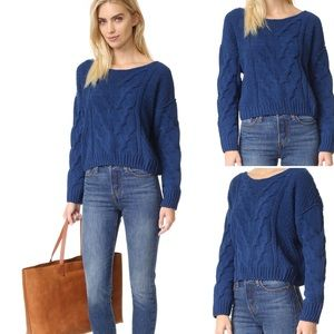 Free People Sticks & Stones Blue Chenille Sweater